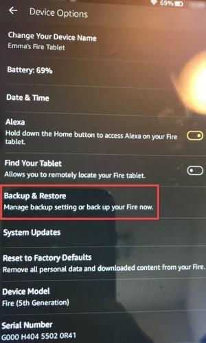 Kindle Fire Backup