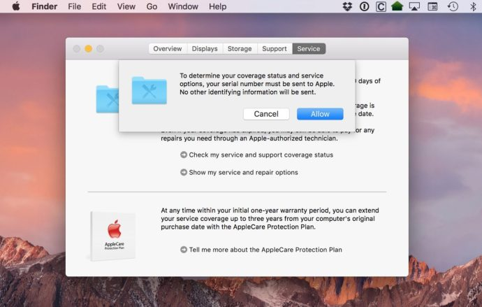 check mac support coverage serial number warning