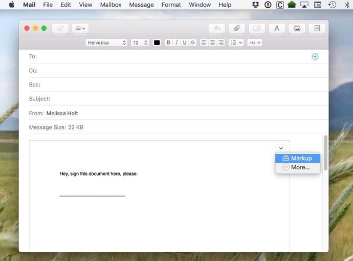 mac mail attachment markup