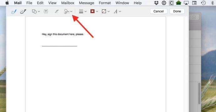mac mail pdf signature