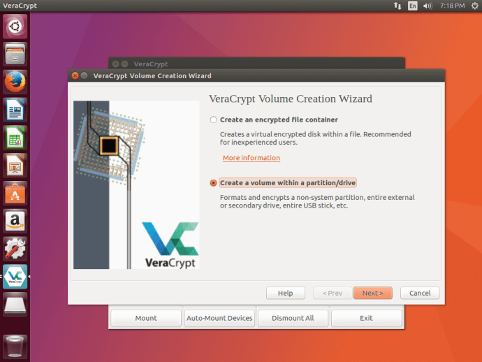 VeraCrypt select Volume