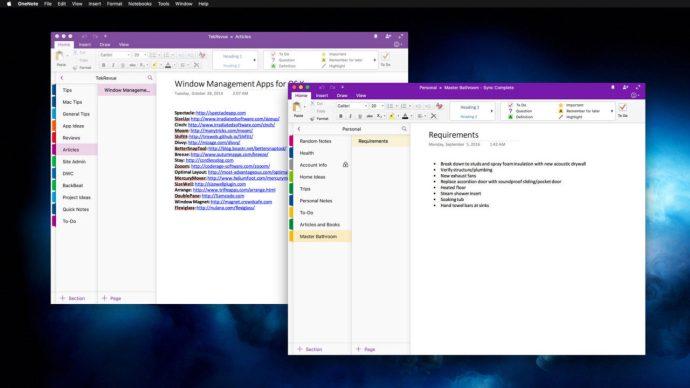 onenote mac multiple windows