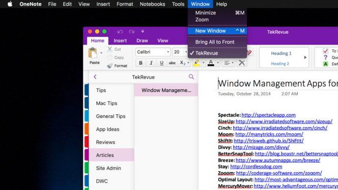 onenote mac new window