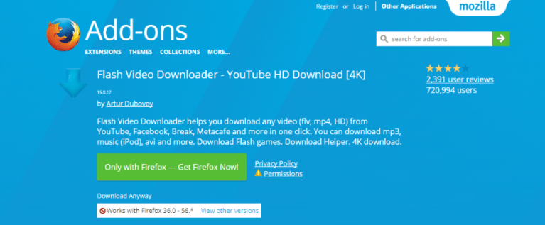 download flash and video firefox