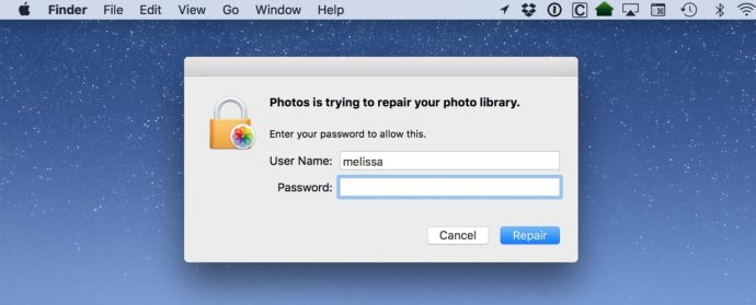 repair photos library password