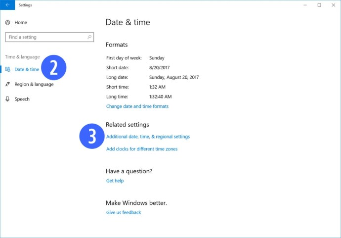 windows 10 date time settings