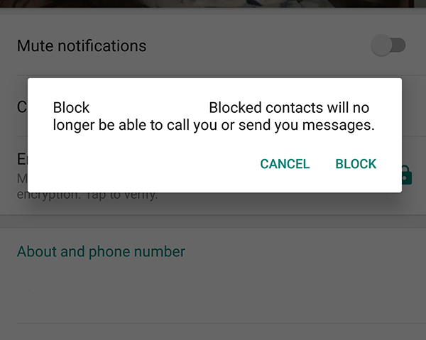 How do i temporarily block someone on whatsapp