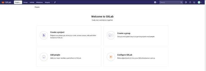 Gitlab Welcome Screen
