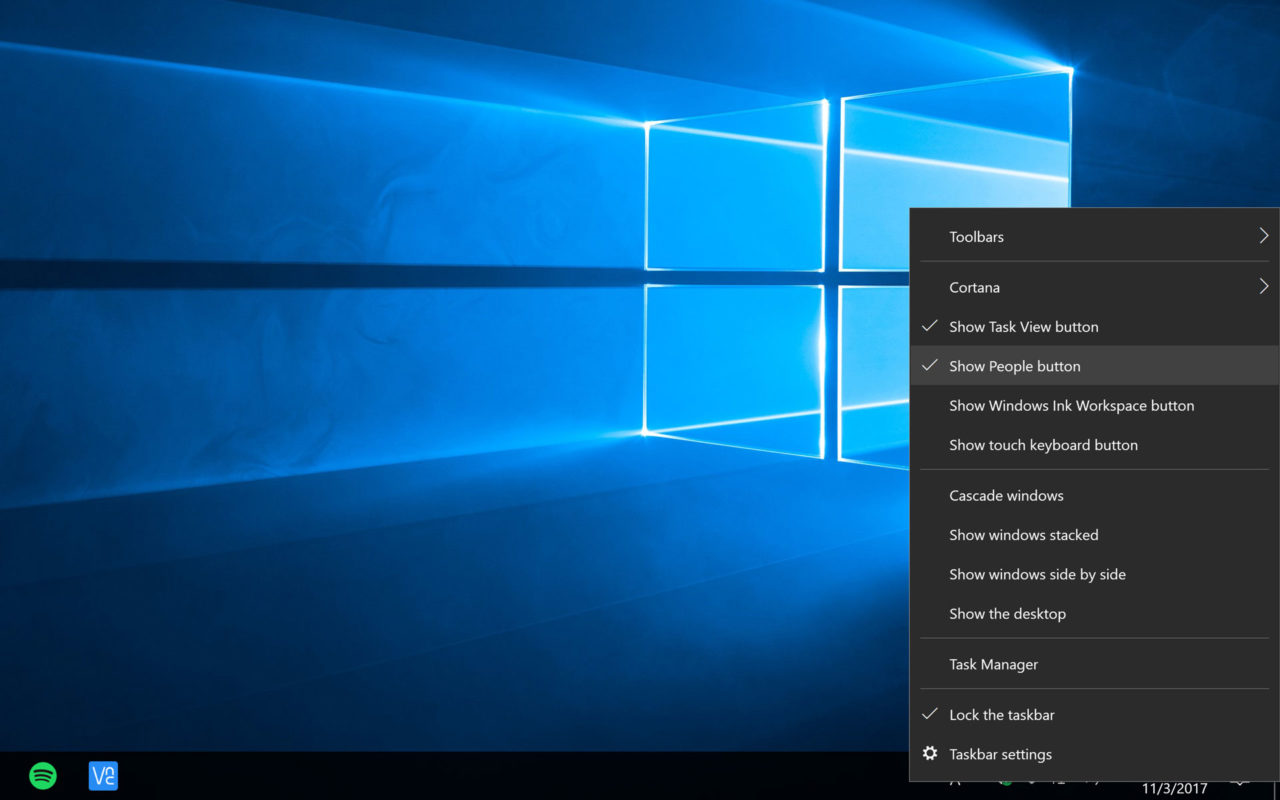 Quick Tip: Remove the People Button From the Windows 10 Taskbar