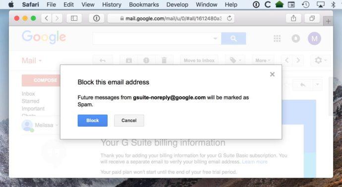 block sender gmail