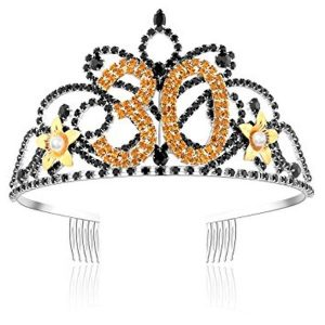 Golden Flower Tiara with Black Crystal Rhinestone