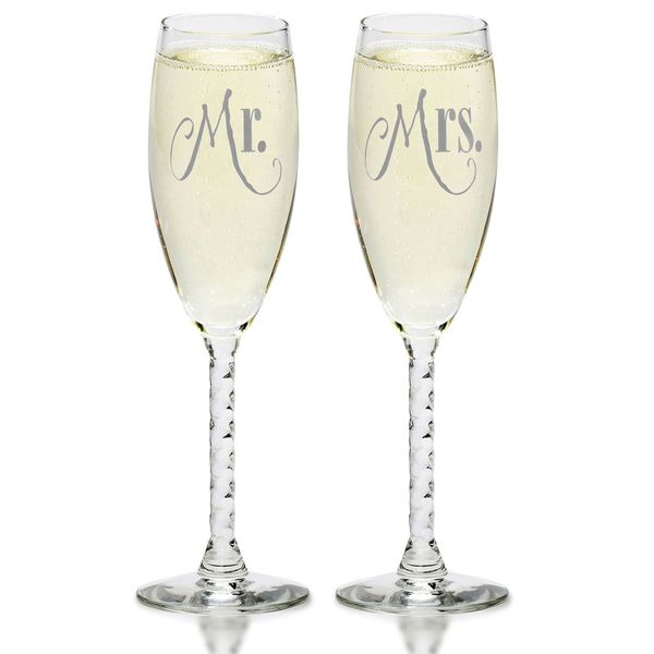 Mr amp Mrs Silver Champagne Flutes