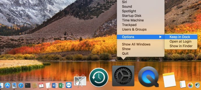 Keep System Preferences in Dock