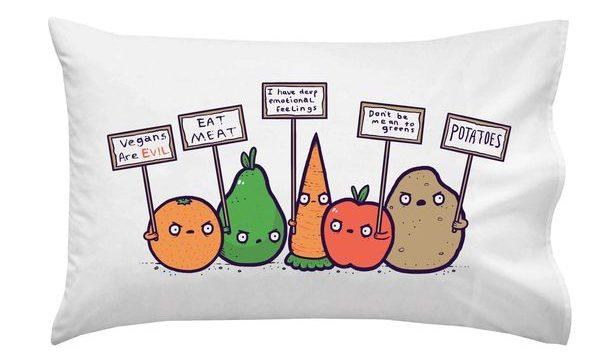 Protesting Vegans Funny Pillowcase