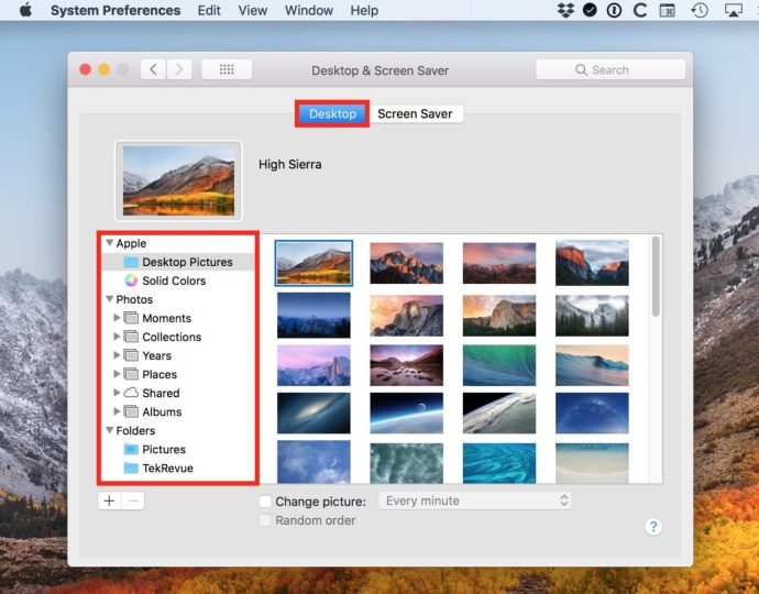 Desktop Tab in System Preferences