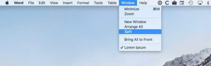 """Split"" Option under Window Menu"