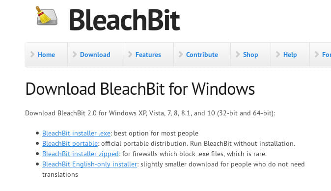 Bleachbit Install on Windows