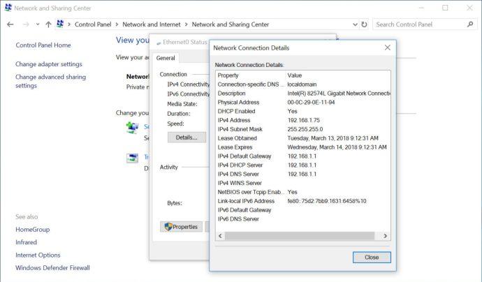 windows find ip address control panel