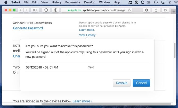 Revoke App-Specific Password