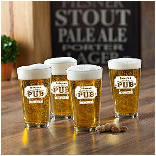 Set of 4 Personalized Neighborhood Pub Pint Glasses