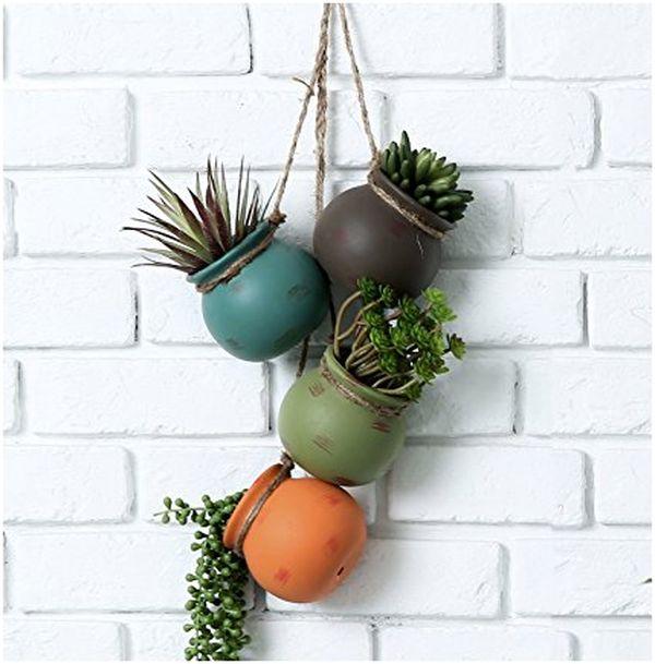 Dangling Multicolor Ceramic 4 Pot Set