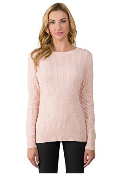 JENNIE LIU 100% Cashmere Long Sleeve Pullover
