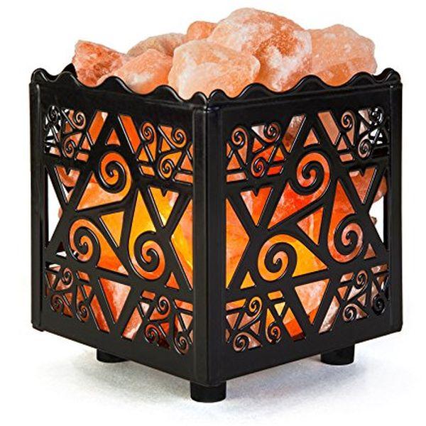 Natural Himalayan Salt Lamp in Star Design Metal Basket