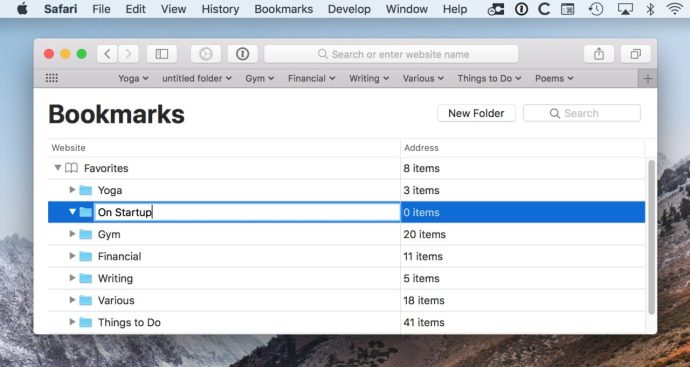 safari bookmarks folder