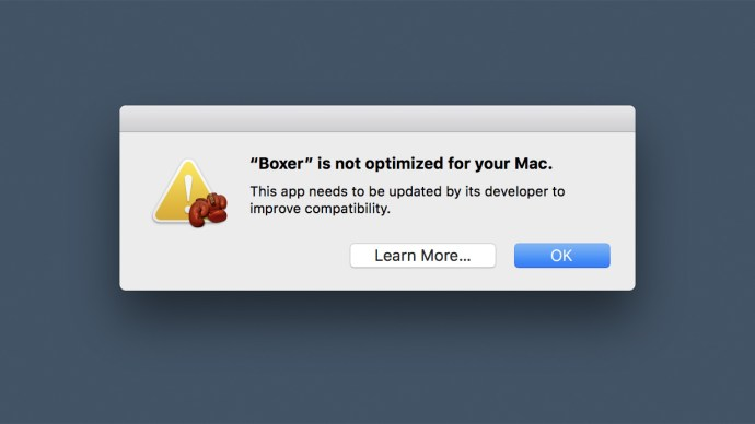 app not optimized for your mac
