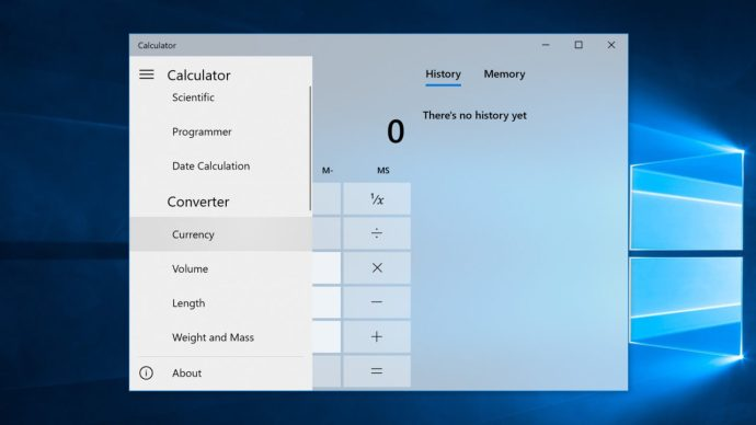 calculator currency converter windows 10