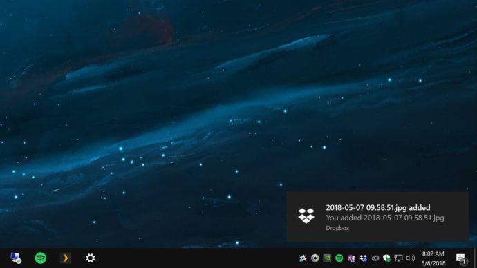 dropbox notification windows 10