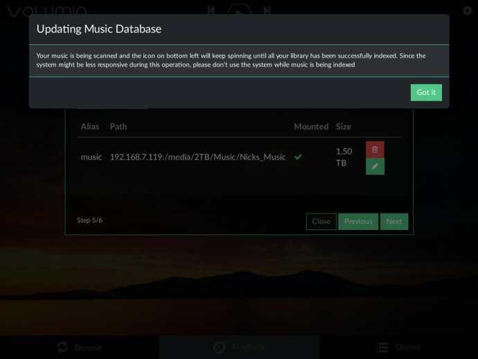 Volumio Updating Database