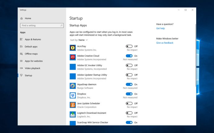 windows 10 disable startup apps