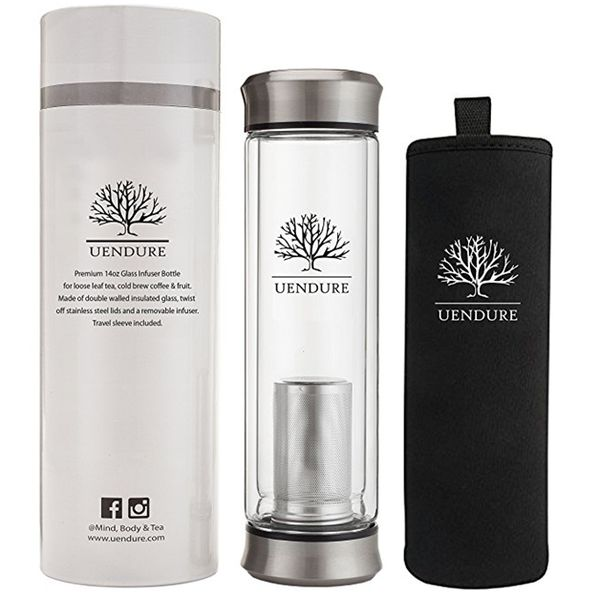 Glass Tea Infuser Travel Mug with Strainer