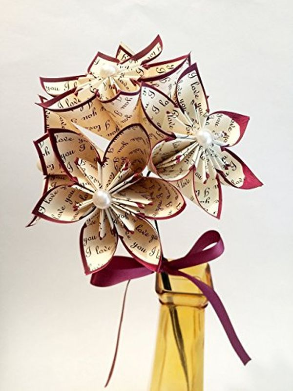 Paper flower bouquet traditional first anniversary gift