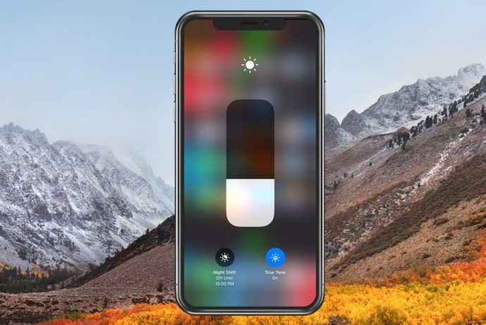 Brightness Options in Control Center