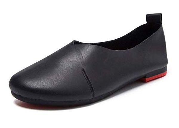 Kunsto Womens Genuine Leather Ballet Flat