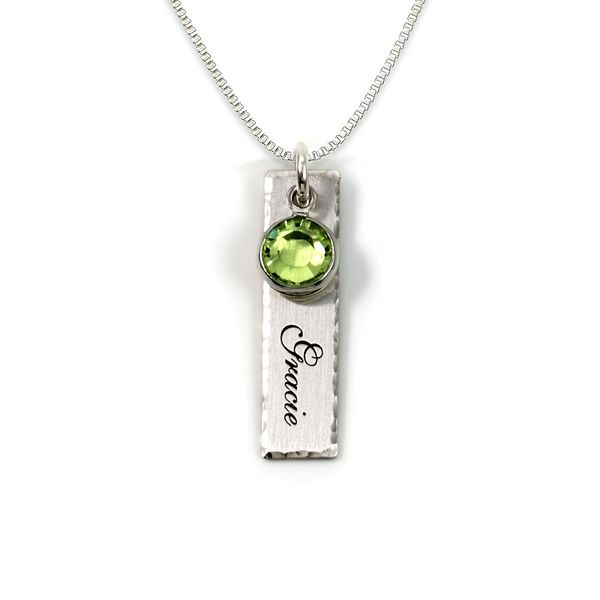 Single EdgeHammered Personalized Charm Necklace