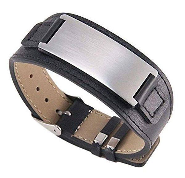 Stainless Steel with Leather Bracelet