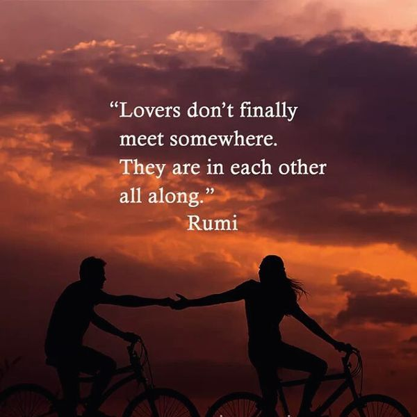 Lovers do not meet each other anywhere ...