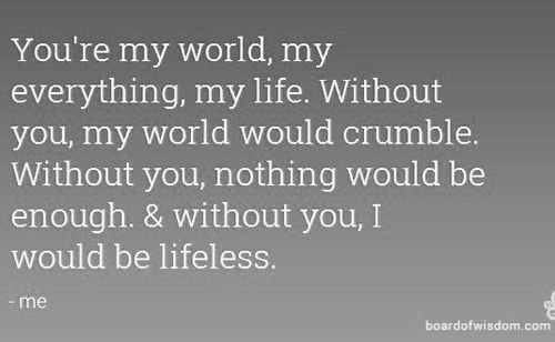 Awesome You are My World Quotes