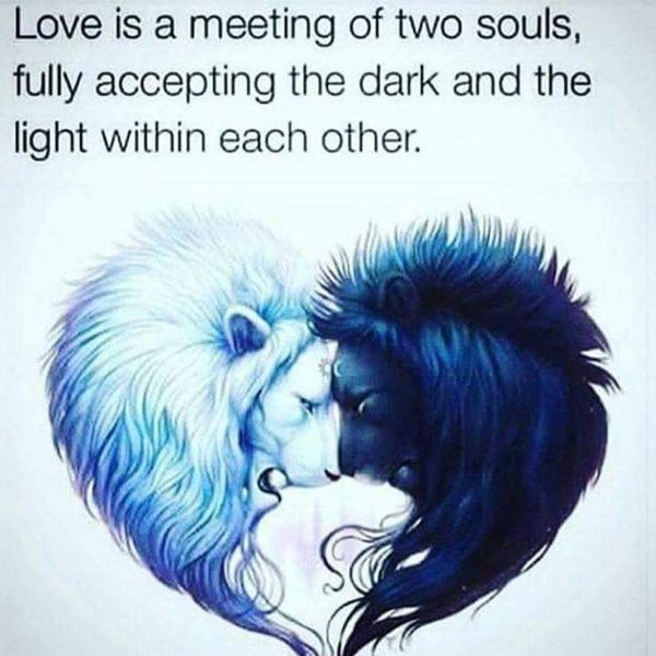 Love is an encounter of two souls who fully accept darkness and light in each other.