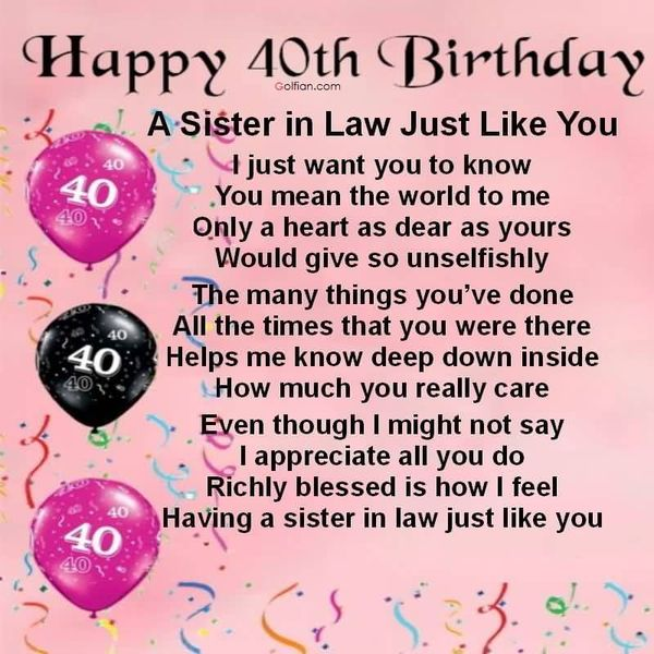 Good 40th Birthday Messages for Sister