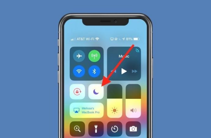 Do Not Disturb Toggle in Control Center On
