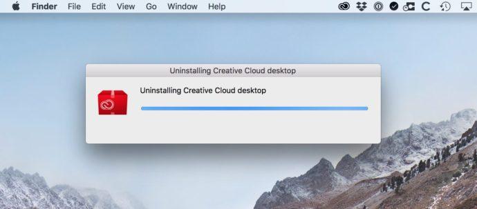 Uninstalling Creative Cloud Progress Bar