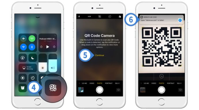 iphone qr code scanner control center