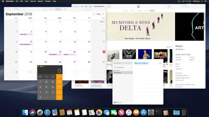 mac mojave only dark menu bar dock
