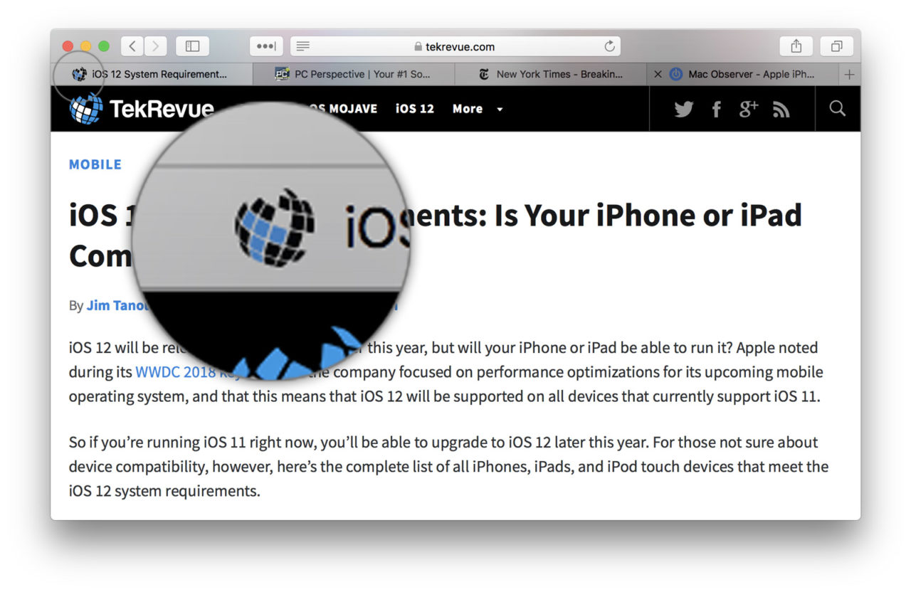 Enable Safari Favicons in Safari 12 for macOS
