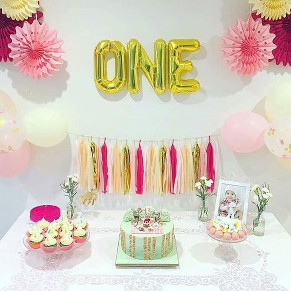 happy 1st birthday table with cakes