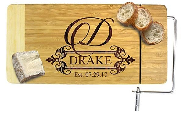 Personalized Cheese Board with Slicer